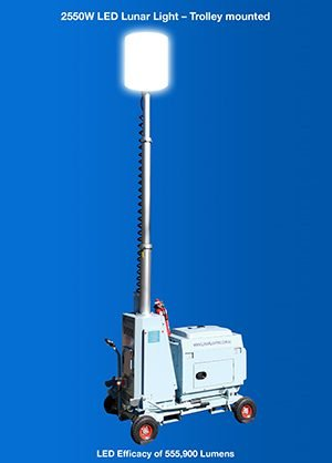 2550W LED Lunar Lighting Tower - Trolley mounted mu (002)